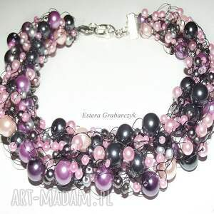 ślub naszyjniki fioletowe różowe perły