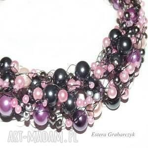 awangardowe naszyjniki ślub różowe perły