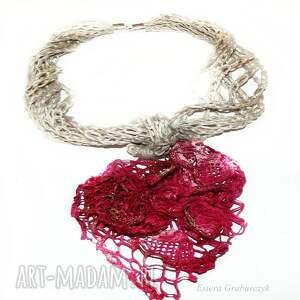 efektowne naszyjniki naszyjnik różowy lniany