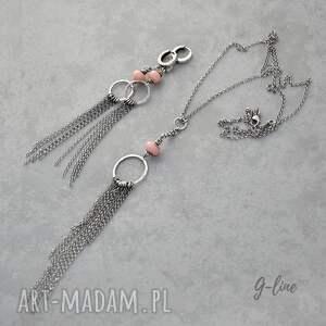 różowe naszyjniki srebro różowy peruwiański opal. długi