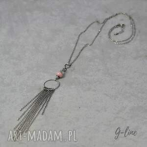 hand-made naszyjniki srebro różowy peruwiański opal. długi