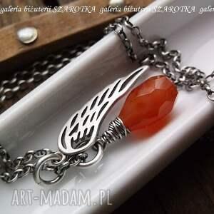 pomarańczowe naszyjniki karneol rudy anioł naszyjnik z karneolu
