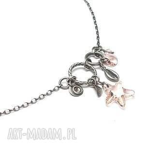 różowe naszyjniki srebro oksydowane sea /silk/ - naszyjnik