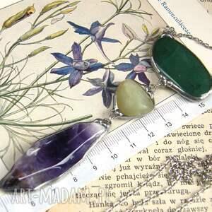 długi naszyjnik naszyjniki zielone secesyjny wisior z łańcuszkiem