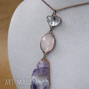 fioletowe naszyjniki wisiorek z-kamieni unikalny wisior wykonany w technice tiffaniego