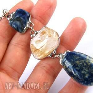 niebieskie naszyjniki wisior-z-kamieni secesyjny wisior z łańcuszkiem: