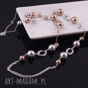 swarovski naszyjniki srebrne shine, elegancki naszyjnik z pereł