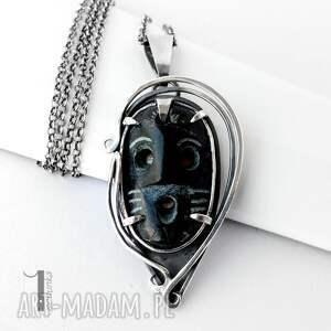 naszyjniki: Siyah srebrny naszyjnik z maską - hand made czarna