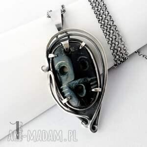 srebro naszyjniki szare siyah srebrny naszyjnik z maską