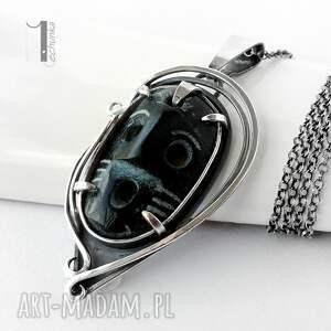 czarne naszyjniki naszyjnik siyah srebrny z maską