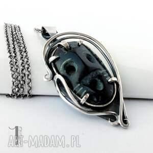 wyjątkowe naszyjniki srebro siyah srebrny naszyjnik z maską