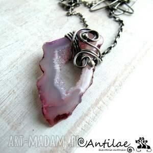 różowe naszyjniki naszyjnik skive - agat z druzą, srebro