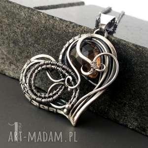 modne naszyjniki dymny smoky heart srebrny naszynik
