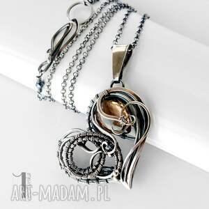 srebro naszyjniki szare smoky heart srebrny naszynik