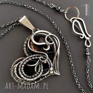 naszyjniki dymny smoky heart srebrny naszynik