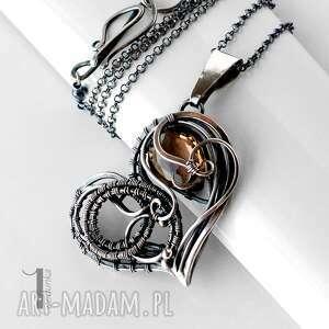 modne naszyjniki srebro smoky heart srebrny naszynik