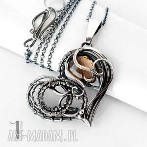 srebrne naszyjniki wirewrapping smoky heart srebrny naszynik
