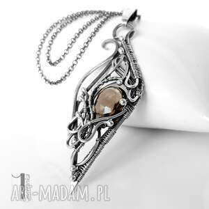 miechunka naszyjniki: Squamis I srebrny naszyjnik z kwarcem dymnym