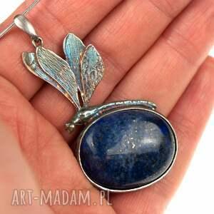 handmade naszyjniki naszyjnik srebrny srebrna ważka z lapis lazuli