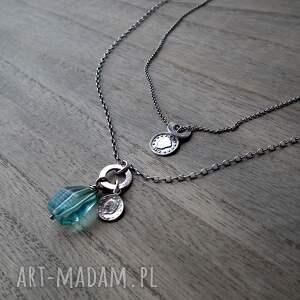 turkusowe naszyjniki zestaw-naszyjników 2 srebrne -