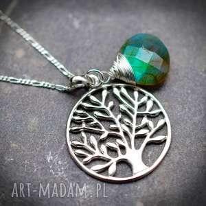 niepowtarzalne naszyjniki kamień 925 srebrny łańcuszek drzewo życia