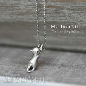 wyjątkowe naszyjniki kokt 925 srebrny łańcuszek kotek