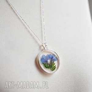 niebieskie naszyjniki medalion 925 srebrny łańcuszek z prawdziwymi