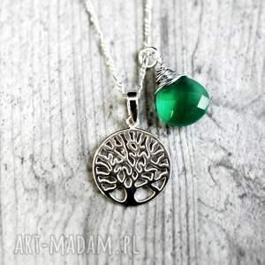 naszyjniki onyks 925 srebrny łańcuszek drzewo życia