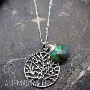 kolorowe naszyjniki kamień 925 srebrny łańcuszek drzewo życia