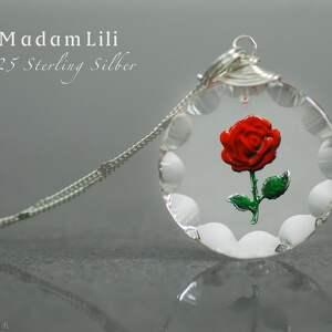 unikalne naszyjniki róża 925 srebrny łańcuszek vintage