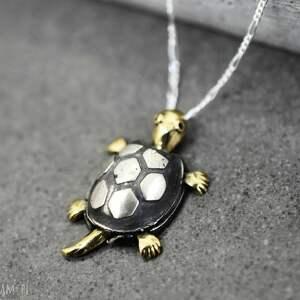 czarne naszyjniki srebro 925 srebrny łańcuszek żółw