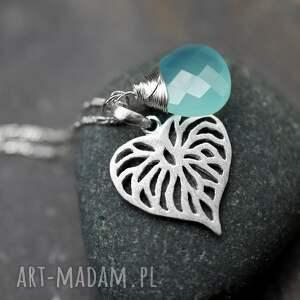 srebrne naszyjniki akwamaryn 925 srebrny łancuszek liść &