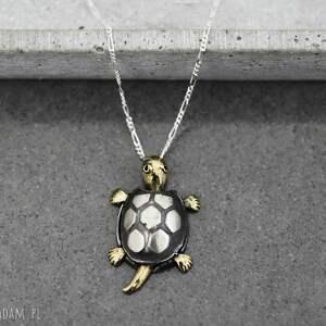 unikatowe naszyjniki zwierze 925 srebrny łańcuszek żółw
