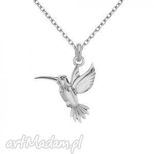 handmade naszyjniki srebrny naszyjnik łańcuszkowy zdobiony kolibrem