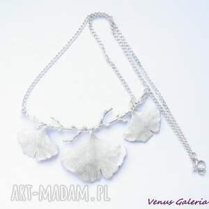 wyjątkowe naszyjniki bizuteria srebrny naszyjnik - miłorzębowy