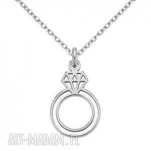 naszyjniki srebrny naszyjnik z pierścionkiem