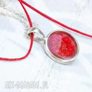 czerwone naszyjniki skóra srebrny naszyjnik z prawdziwym
