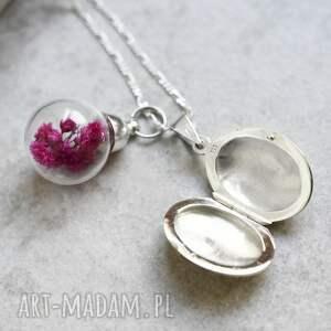 nietypowe naszyjniki medalion 925 srebrny naszyjnik z suszonymi