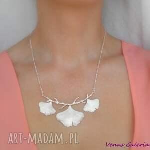 naszyjniki srebro srebrny naszyjnik - miłorzębowy
