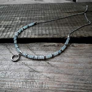 turkusowe naszyjniki akwamaryn srebro i - naszyjnik