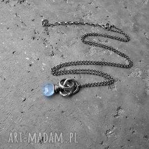 niebieskie naszyjniki niebieski srebro i chalcedon błękitny