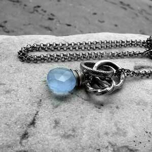 intrygujące naszyjniki niebieski srebro i chalcedon błękitny
