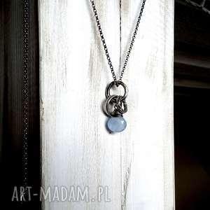 intrygujące naszyjniki srebrny srebro i chalcedon błękitny