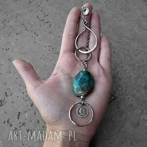 długi-naszyjnik naszyjniki turkusowe srebro 925 i chryzokola- długi