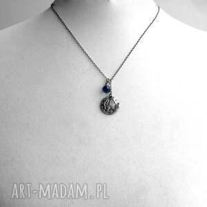 niebieskie naszyjniki charms srebro i granatowy kwarc