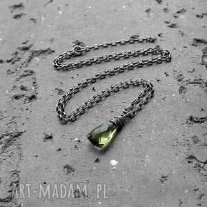 naszyjniki delikatny srebro i kwarc zielony oliwkowy