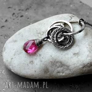 urokliwe naszyjniki długi naszyjnik srebro i kwarc różowy