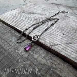 geometryczny naszyjniki srebro i kwarc różowy - delikatny