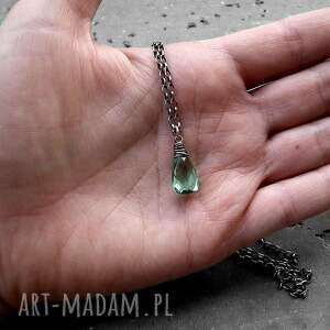 subtelny naszyjniki zielone srebro i kwarc miętowy - naszyjnik