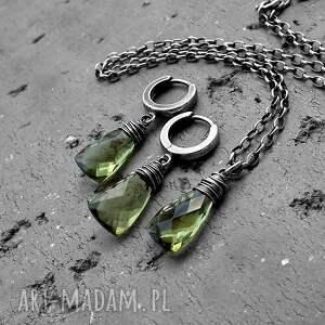naszyjniki nowoczesny srebro i kwarc zielony oliwkowy